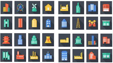 Набор иконок: Здания, строения, дома